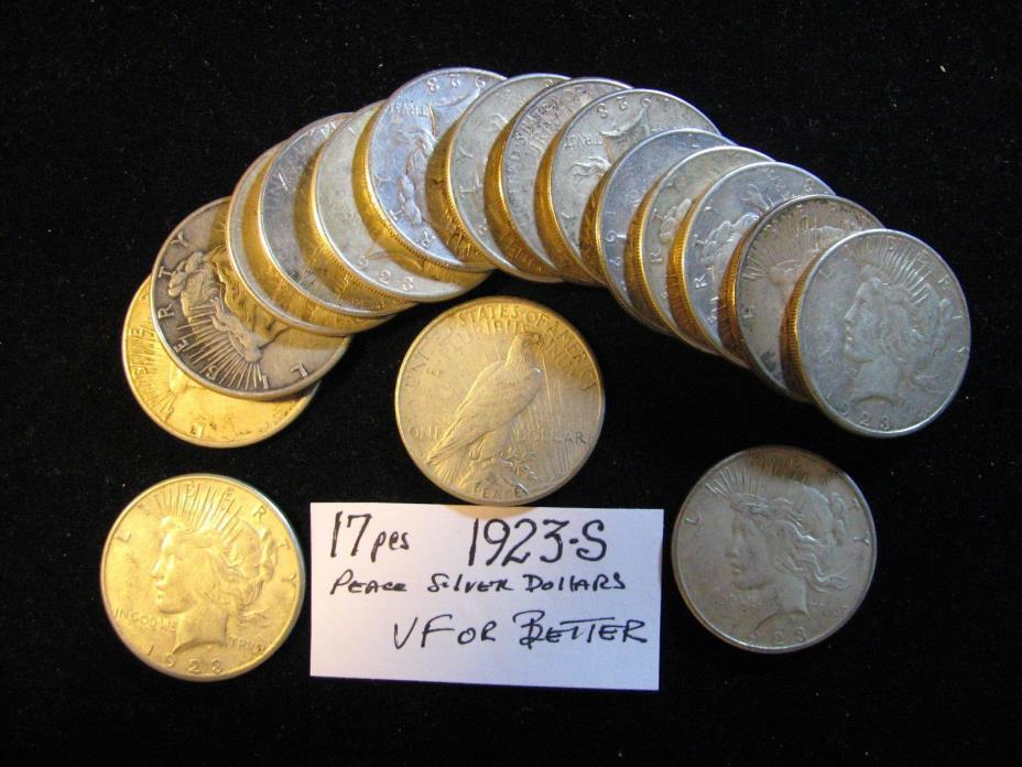 20 PCS PEACE SILVER DOLLARS ALL 1923-S VF OR BETTER. FREE SHIPPING