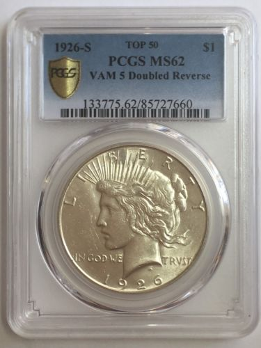 1926-S Peace Dollar VAM-5 Doubled Reverse Top 50 PCGS MS62