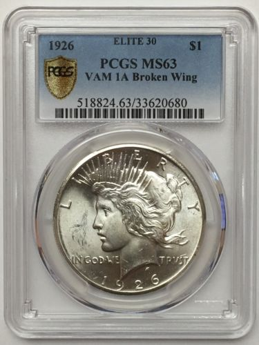 1926 Peace Dollar VAM-1A Broken Wing Die Break Elite 30 PCGS MS63