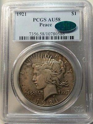 1921 Peace Dollar - Graded and Certified by PCGS AU58 - CAC