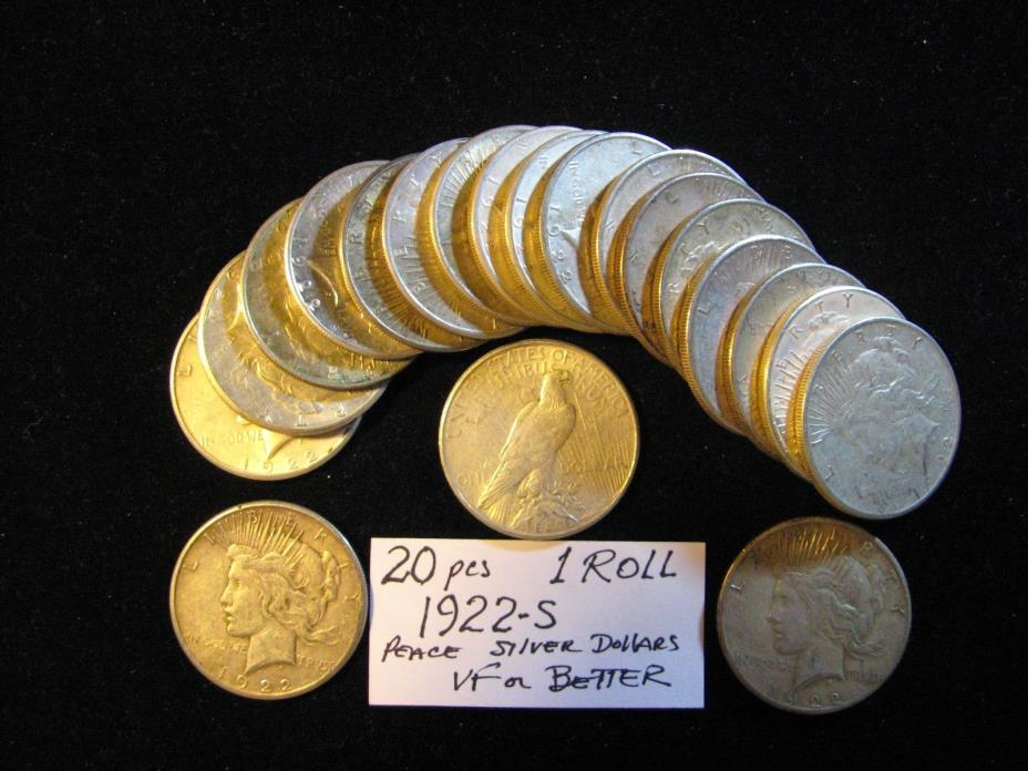 20 PCS PEACE SILVER DOLLARS ALL 1922-S VF OR BETTER. FREE SHIPPING