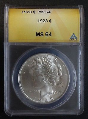 1923 Peace Dollar ANACS MS 64