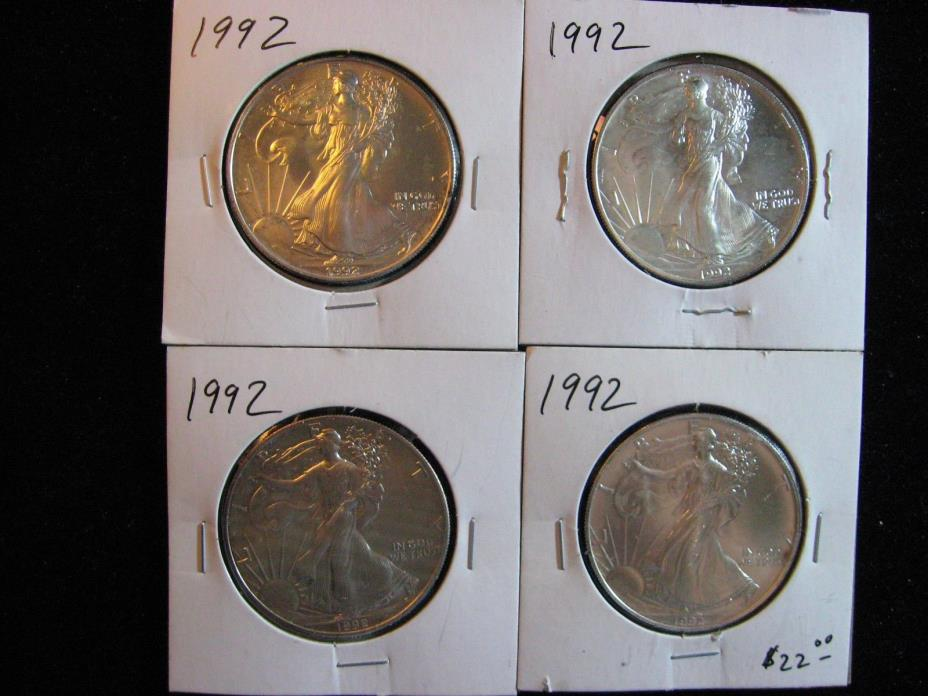 4 PCS AMERICAN SILVER EAGLE.  ALL 1992 MINT NEW!  FREE SHIPPING
