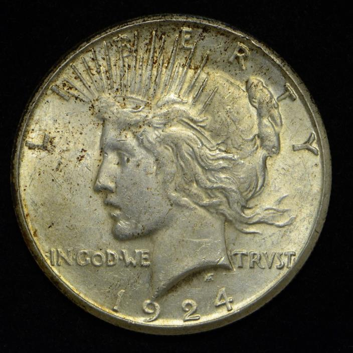 1924-S Peace Silver Dollar United States Coin AU+++ (cn4729)
