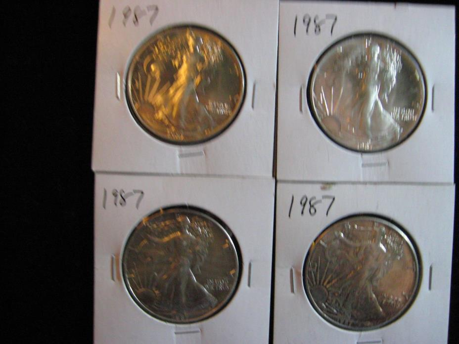 4 PCS AMERICAN SILVER EAGLE.  ALL 1987 MINT NEW!  FREE SHIPPING