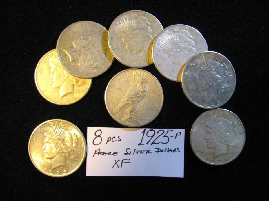 8 PCS PEACE SILVER DOLLARS ALL 1925 ALL XF. FREE SHIPPING