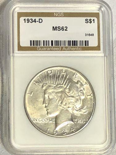 1934-D $1 Peace Silver Dollar
