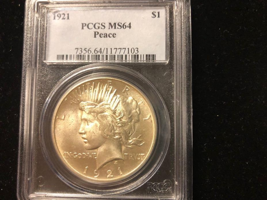 1921-P HIGH RELIEF PEACE SILVER DOLLAR, PCGS CERTIFIED MS-64, LUSTROUS WHITE BU