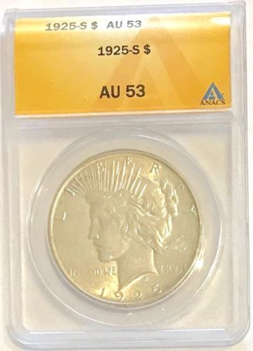 1925-S $1 Peace Dollar Semi-Key, ANACS AU 53