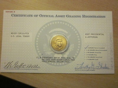 Uncirculated 2007 Presidential One Dollar Gold Coin- Jefferson
