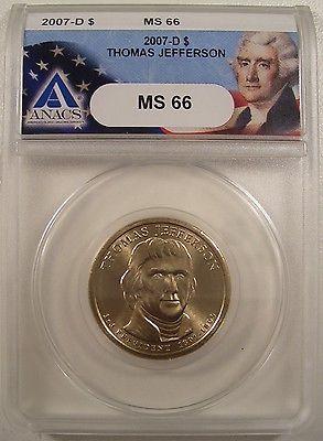 2007-D $1 THOMAS JEFFERSON ANACS MS 66