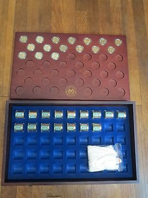 Danbury Mint US Presidential Dollars & Wood Case 16 Rolls and 16 Single Coins