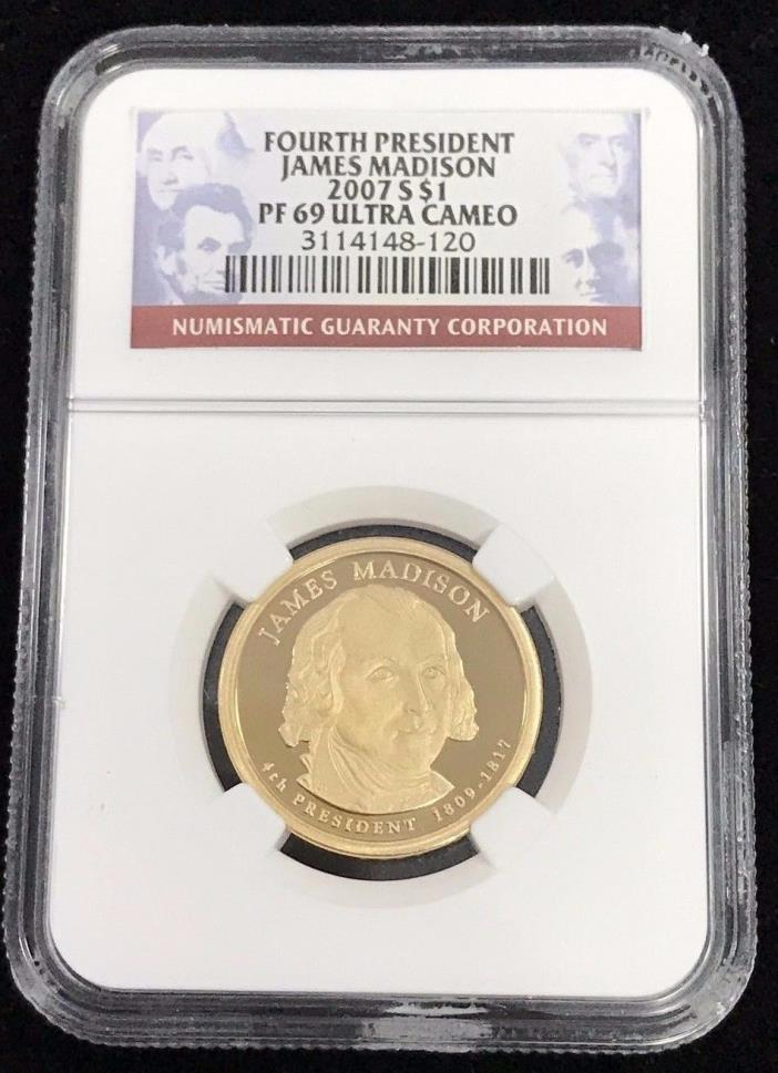 2007 S $1 Fourth President James Madison NGC PF 69 Ultra Cameo