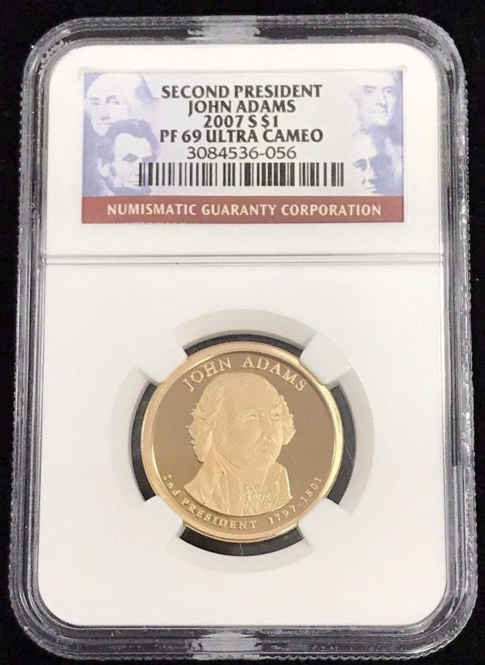 2007 S $1 Second President John Adams NGC PF 69 Ultra Cameo