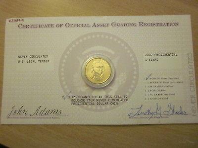 Uncirculated 2007 Presidential Gold One Dollar Coin- Adams