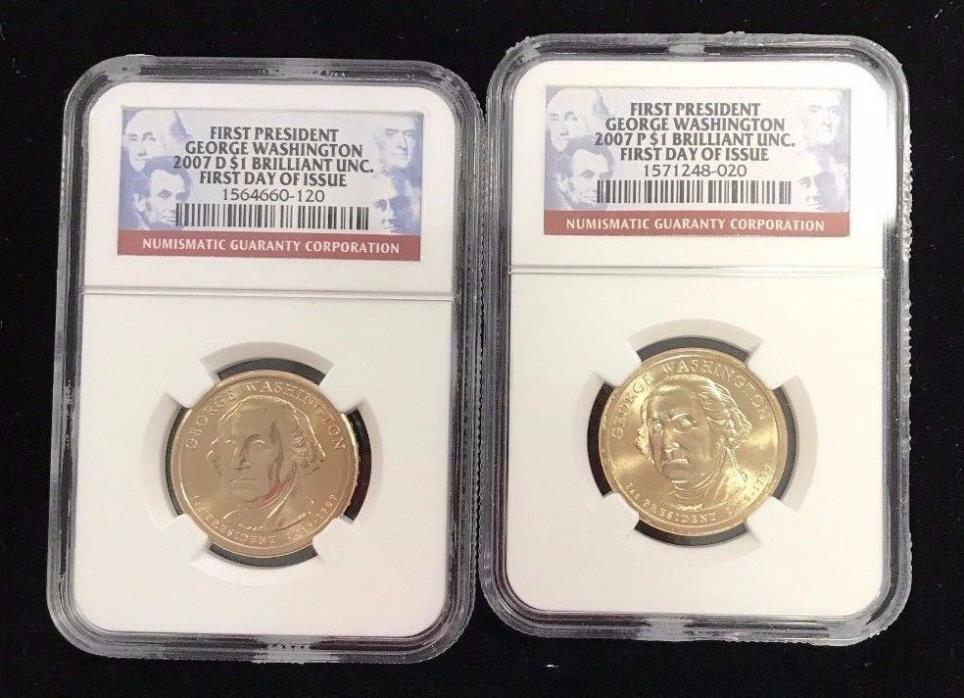 $1 2007 First President George Washington P & D NGC First Day of Issue Unc.