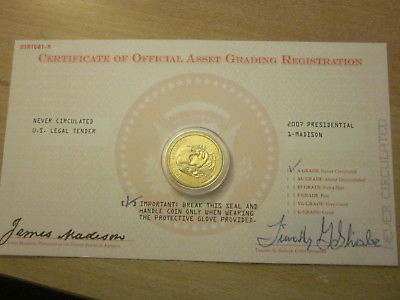 Uncirculated 2007 Presidential Gold One Dollar Coin - Madison