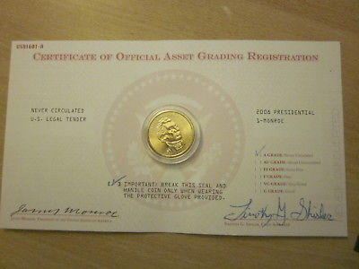 2008 Presidential One Dollar Gold Coin- Monroe Uncirculated