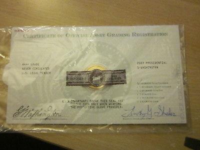 2007 Presidential Gold One Dollar Coin, Uncirculated, Washington USA CC GW7-P