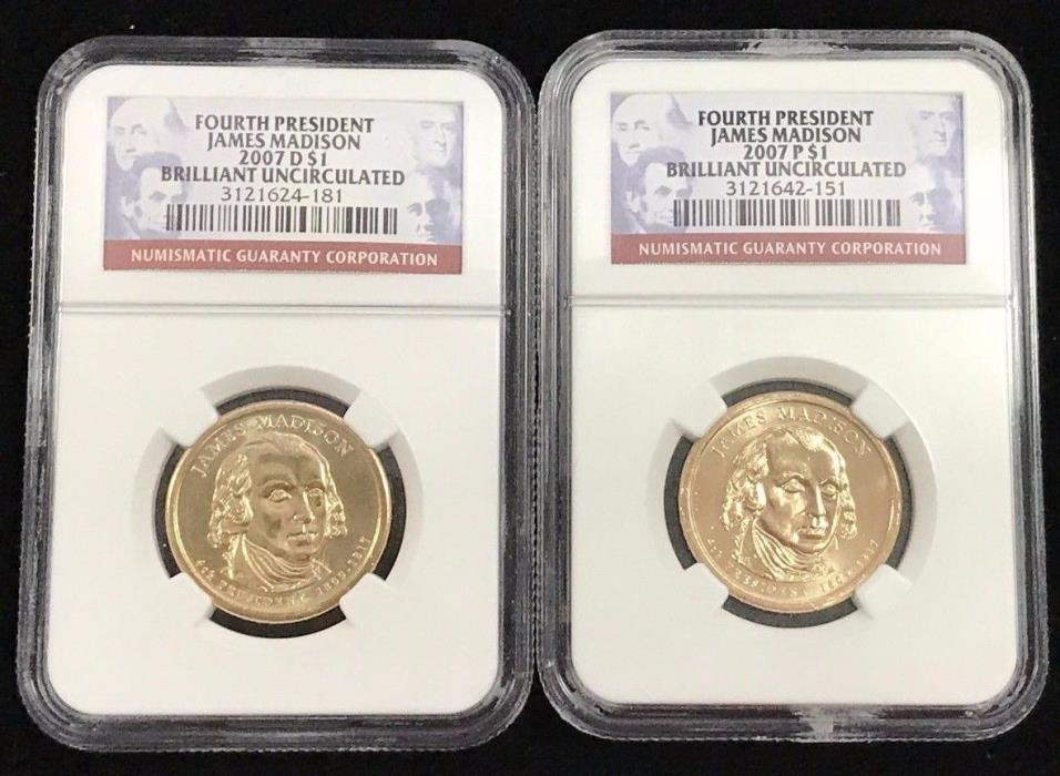 2007 P&D $1 Fourth President James Madison NGC First Day of Issue Brilliant Unc