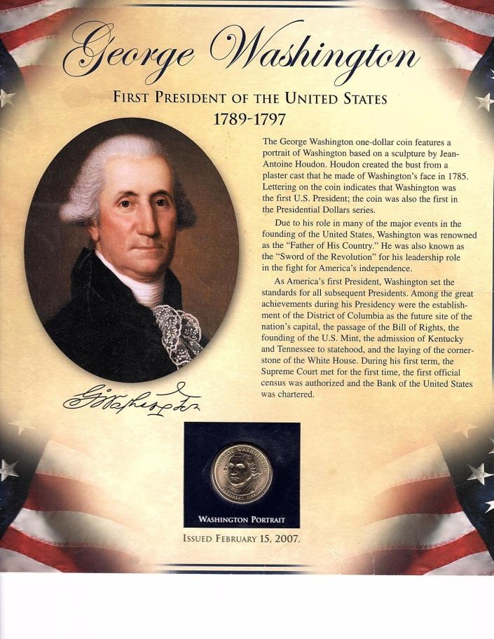 2007 George Washington Presidential $1 Coin & 2 Stamps Uncl on Biography Card