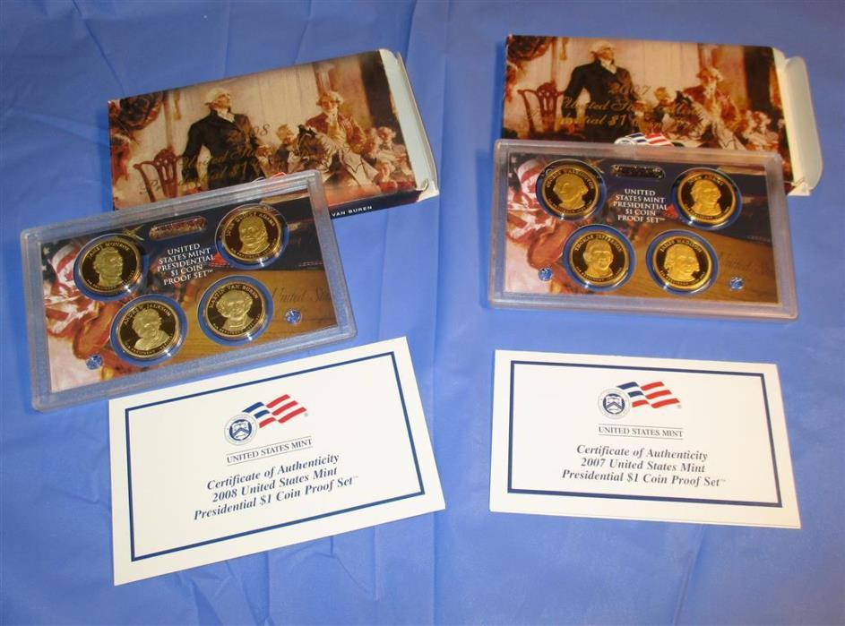 2007,2008 LOT PRESIDENTIAL Dollar Proof US Mint Coin Sets,box,COA,4 $1 each