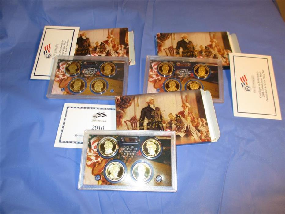 2007,2008,2010 LOT PRESIDENTIAL Dollar Proof US Mint Coin Sets,box,COA,4 $1 each
