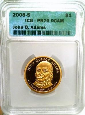 2008-S $1 JOHN QUINCY ADAMS ICG GRADED PR70 DCAM #0308