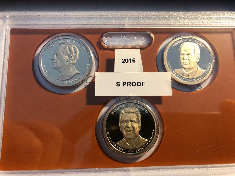 2016-S $1 Reagan, Nixon & Ford DC (Proof) Presidential Dollar