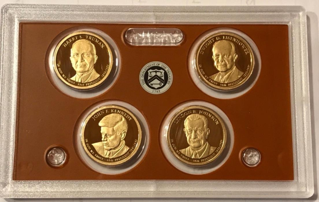 2015 S Proof Presidential Dollars: Set of 4 Gem Proof Coins : No Box or C.O.A.