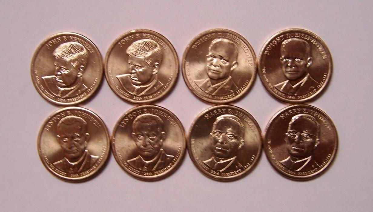 2015 Presidential Dollar Mint set 8 Coins Kennedy, Ike, LBJ, Trueman