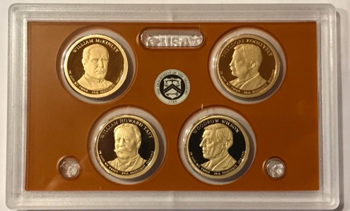 2013 S Proof Presidential Dollars: Set of 4 Gem Proof Coins : No Box or C.O.A.