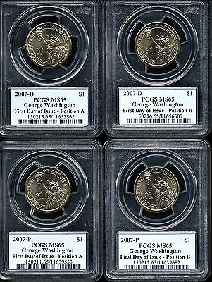 2007 P & D $1 Washington Presidential Dollar Set of 4 MS65 PCGS Positions A & B