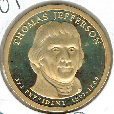 2007-S $1 Thomas Jefferson Proof 3RD Presidential Dollar Coin!