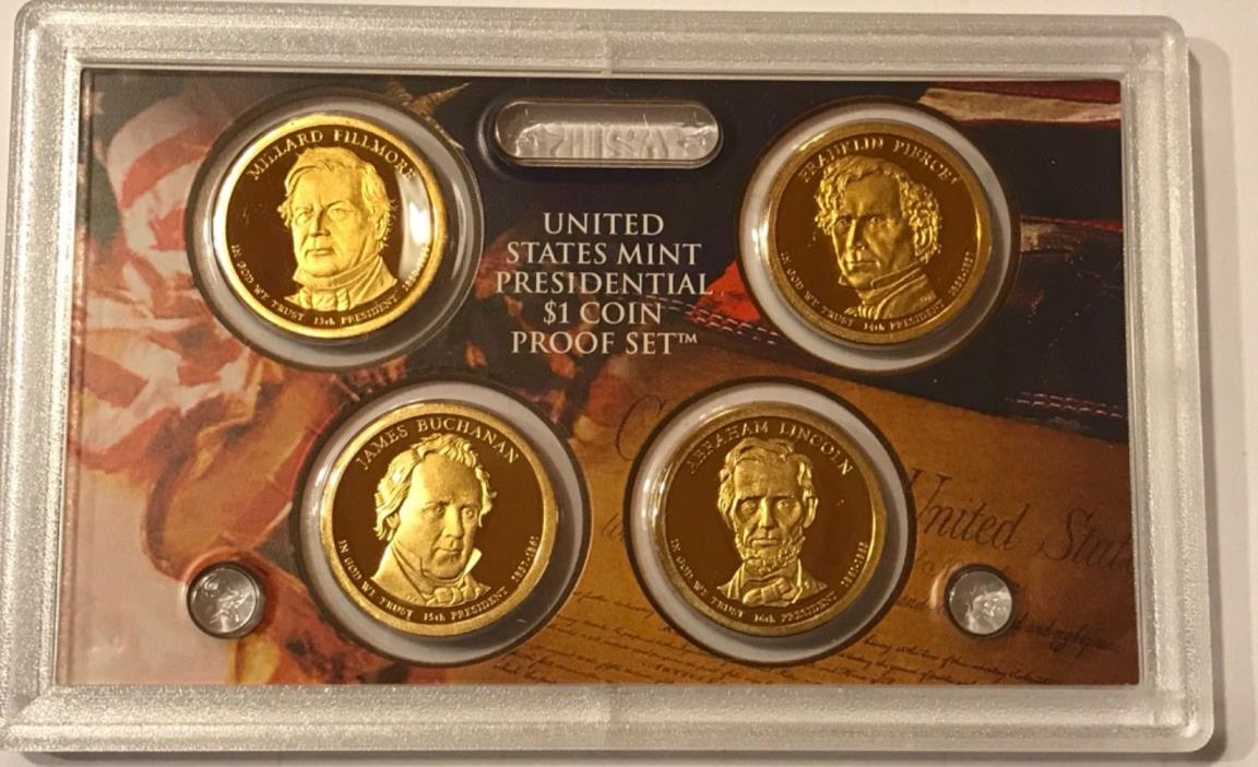 2010 S Proof Presidential Dollars: Set of 4 Gem Proof Coins : No Box or C.O.A.