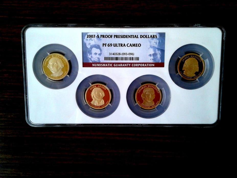 2007 S $1 Presidential Proof Dollars 4 Coin Set NGC PF69 Ultra Cameo