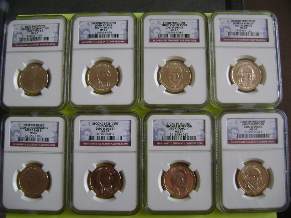 2007 P&D PRESIDENTIAL NGC SMS MS67 SATIN FINISH 8-COIN DOLLAR SET