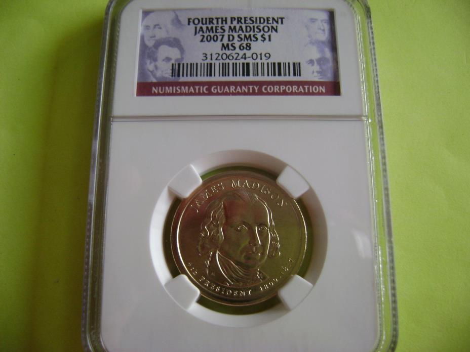 2007-D JAMES MADISON NGC SMS MS 68 SATIN FINISH DOLLAR COIN