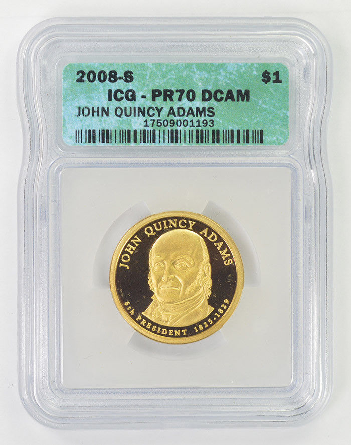 2008-S $1 John Quincy Adams PR70 DCAM Presidential Dollar