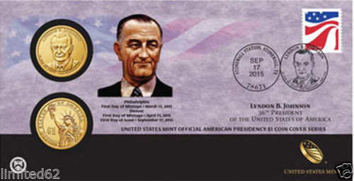Lyndon B. Johnson 2015 One Dollar Coin Cover P56
