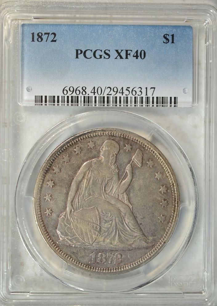 1872 Seated dollar, PCGS XF40