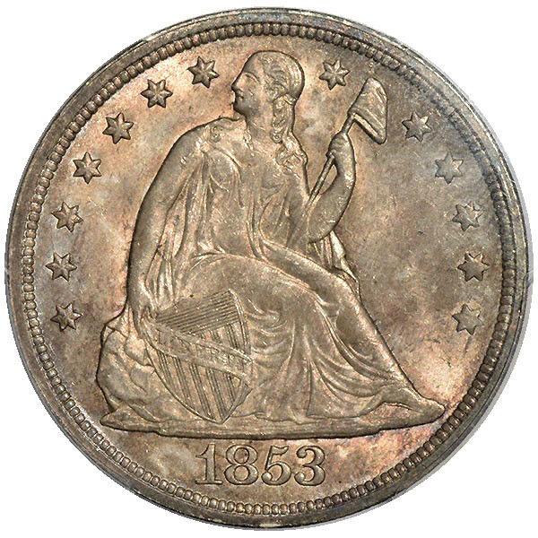 1853 $1 Liberty Seated Dollar OC-1,R.2 PCGS MS64 CAC