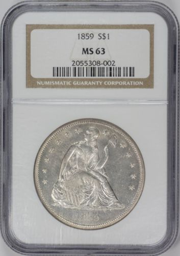 1859 $1 Liberty Seated Dollar - NGC MS63