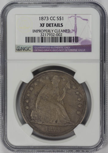 1873-CC $1 Seated Liberty - NGC Genuine XF Details Rare Coin