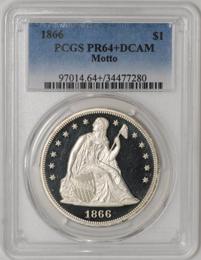1866 Seated Liberty Dollar $ Motto PR64+ DCAM PCGS