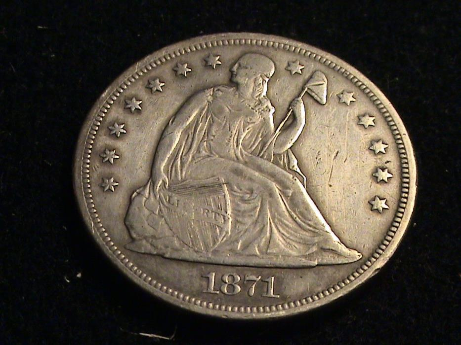 1871 Seated Liberty Silver Dollar, full date, full weak liberty  S701