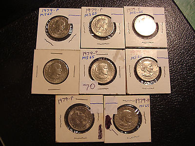 Nice Group of 8 Uncirculated 1979 SBA Dollars in 2X2's WE COMBINE ON SHIPPING