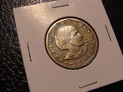 1981-S SBA Dollar Superb Gem Proof Light Electric Blue Toning Obverse Color