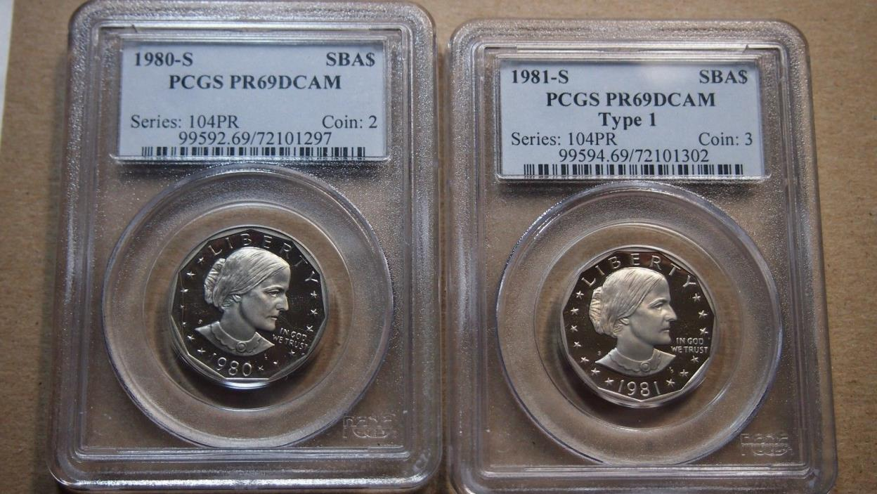 PCGS PR 69 ULTRA CAMEO - 1980-S & 1981S TYPE 1 SUSAN B. ANTHONY DOLLAR - 2 COINS