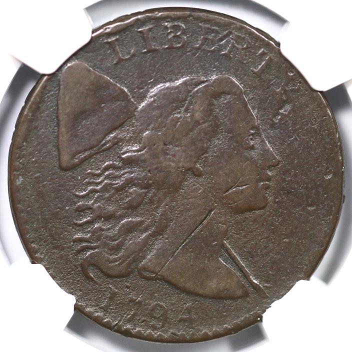 1794 S-34 R-5 NGC Fine Details Liberty Cap Large Cent Coin 1c